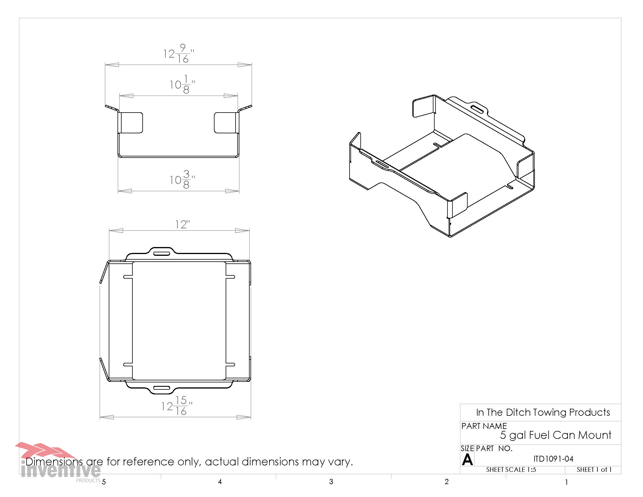 1091 5Gal Fuel Can Holder Dimensions