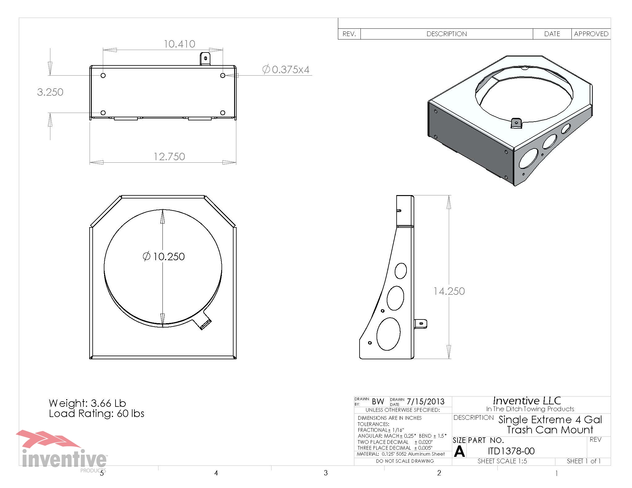 1378-Extreme duty trash can mount 4 gal Dimensions