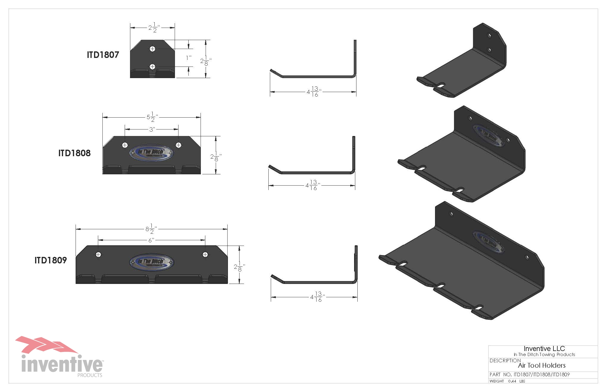 1808 Double Air Tool Holder DIMENSIONS