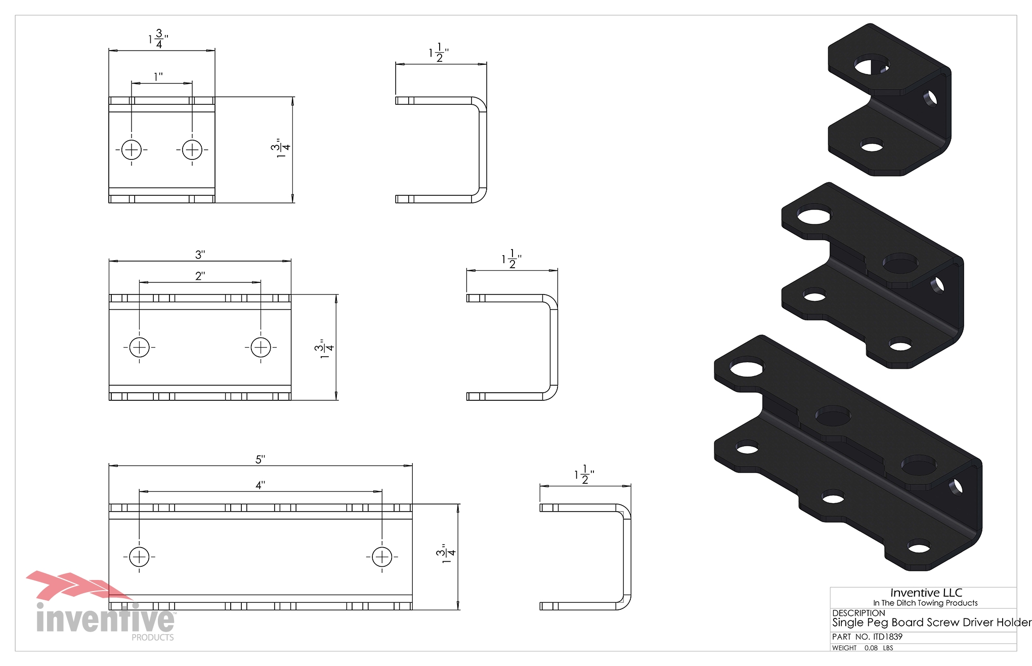 1840 Double Screw Driver Holder Dimensions